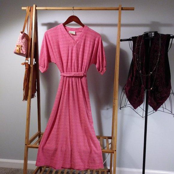 Vintage Dresses & Skirts - Winnie Pink Short Sleeve Striped Day Dress S